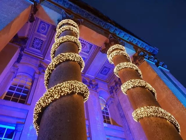 front of blenheim palace all lit up