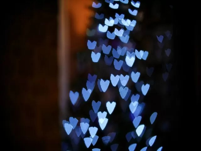 heart bokeh on a christmas tree