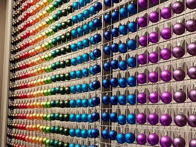 rainbow bauble wall display
