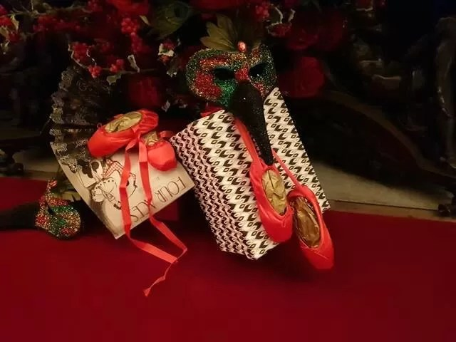 red ballet shoes decorative display