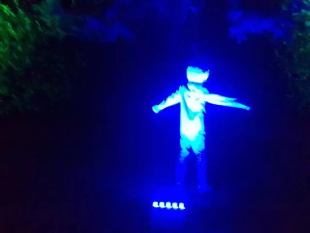 standing in the blue light