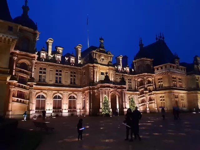 waddesdon manor frontage lit up