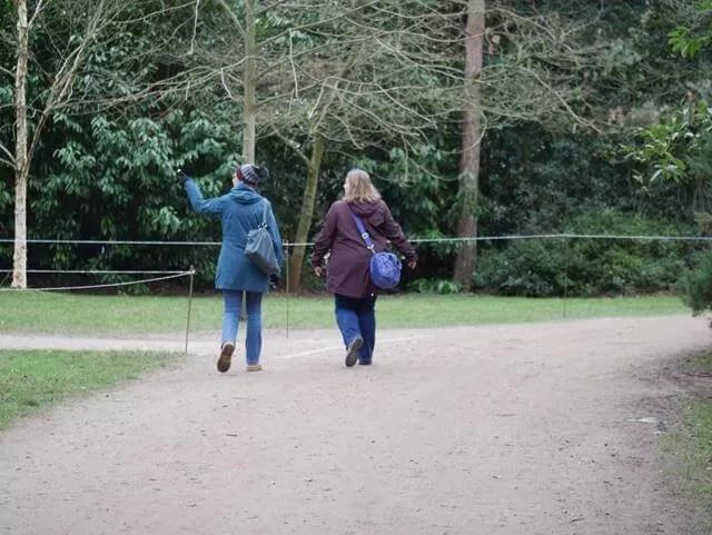 2 women walking and walking