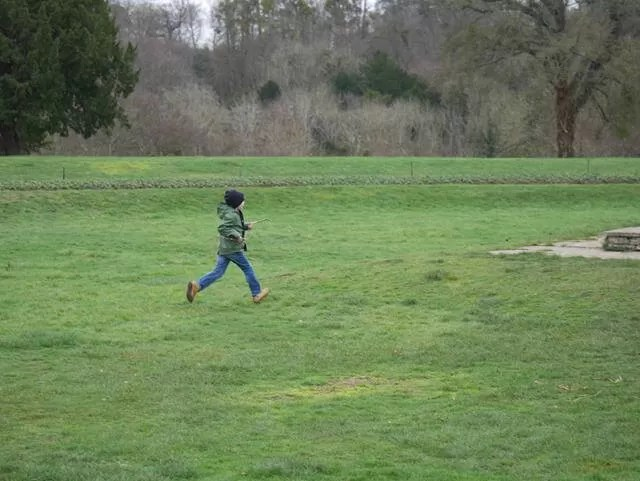 running across the pareterre lawn at cliveden