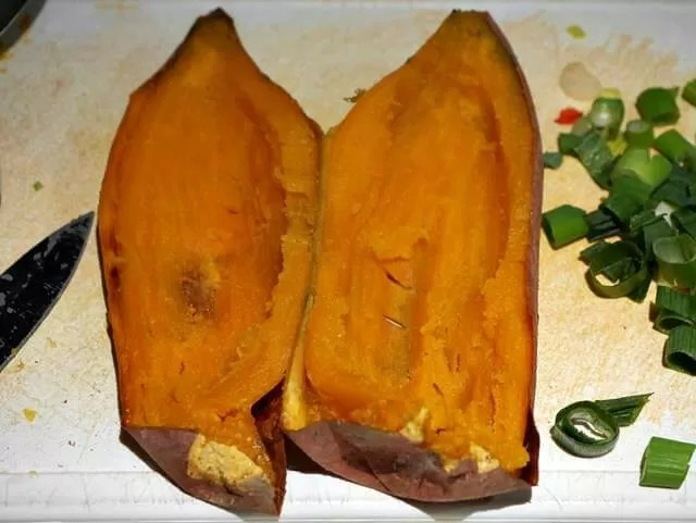 scooped out sweet potatoes
