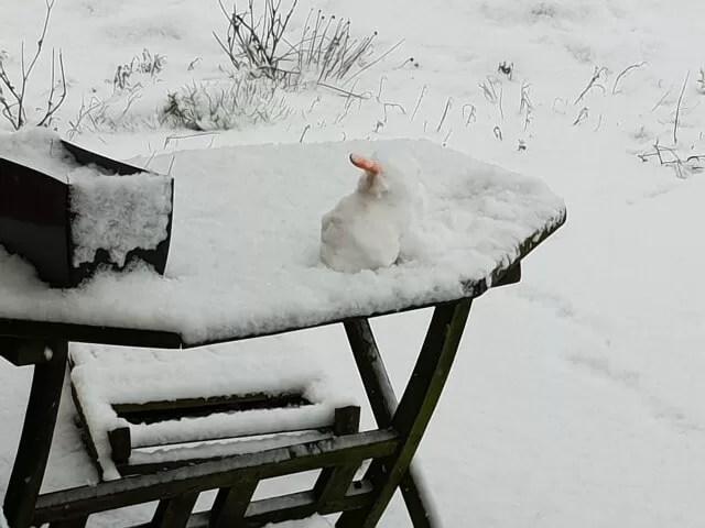 snowman on garden table