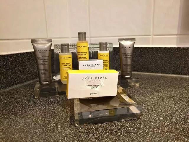 toiletries in hotel