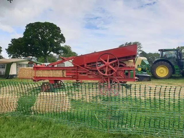 threshing machine on display