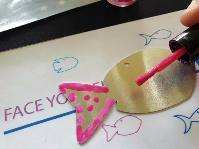 decorating metal with nail polish