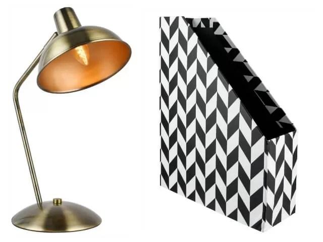 bronze lamp and monochrome file box