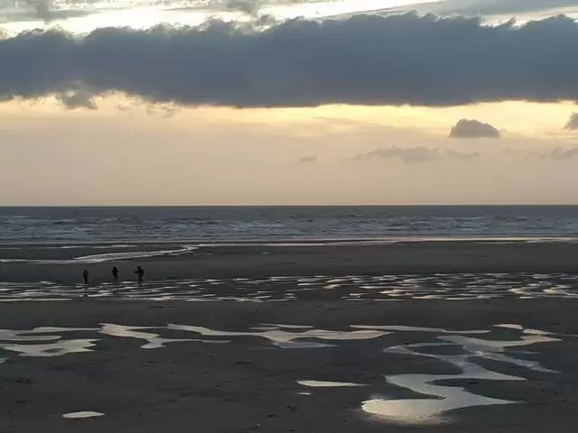 blackpool north beach at sunset