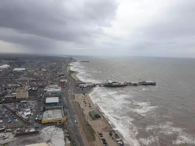 looking south over blackpool coast