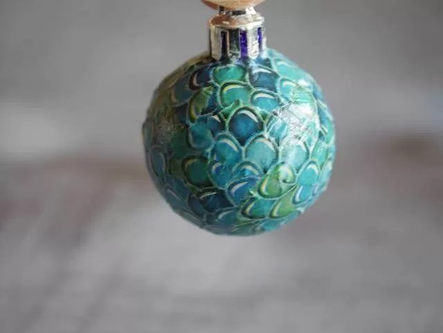 green and blue decopatch bauble