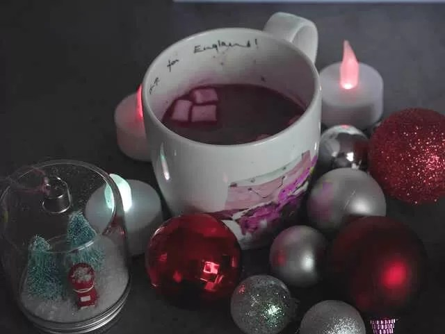 hot chocolate amongst baubles