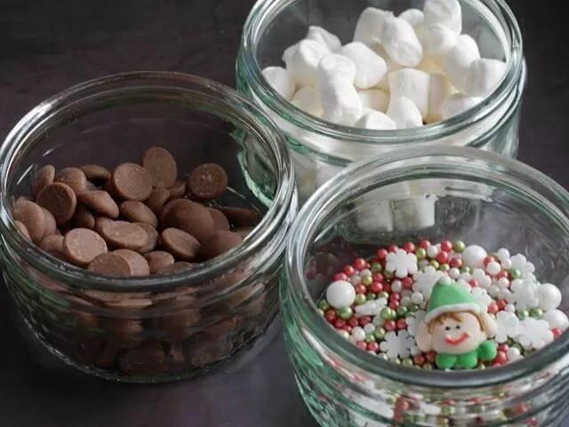 hot chocolate toppings in ramekins