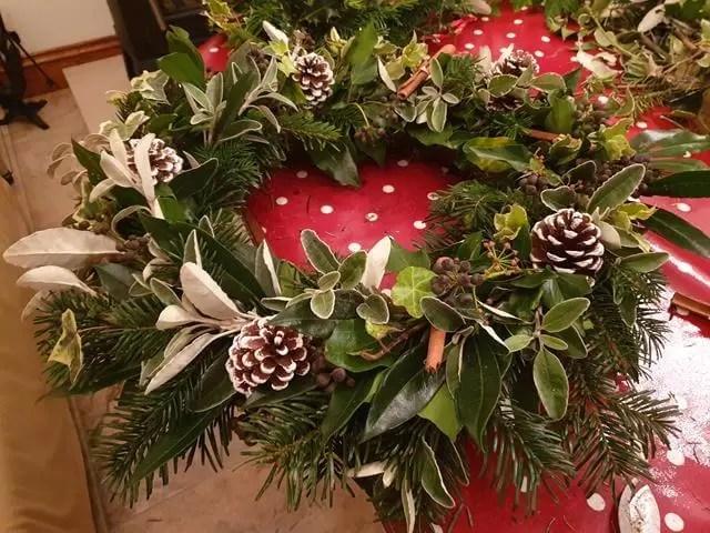 christmas wreath with fir cones