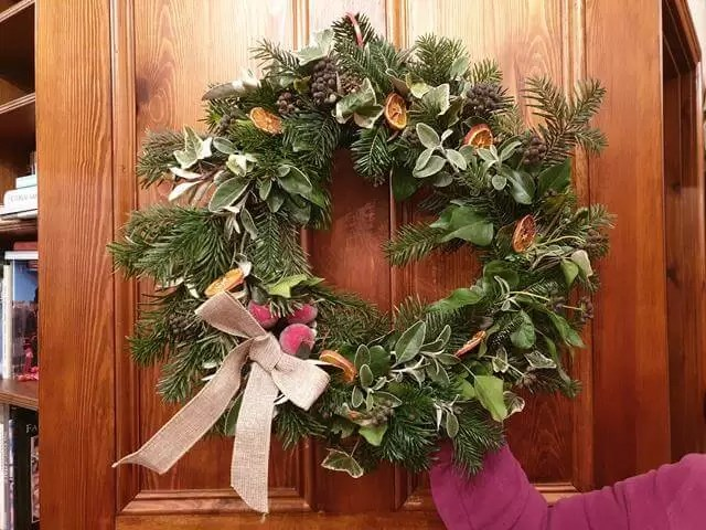 completed wreath at wreath making evening