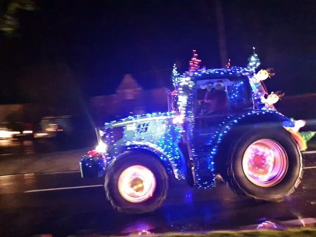 tractor decked in lights for tractor run