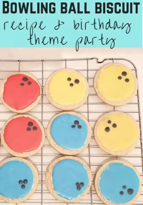 bowling ball theme biscuits and party