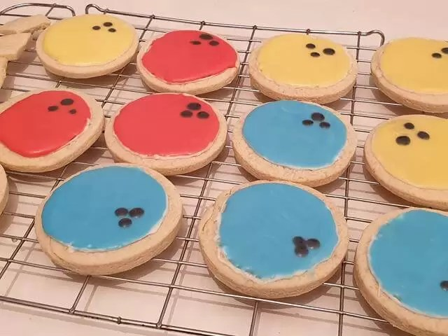 iced bowling ball biscuits.