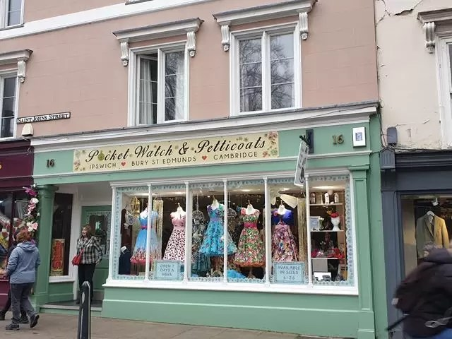pretty dress shop window
