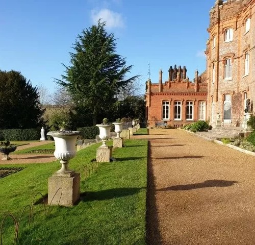 row of flower urns outside the back of Hughenden Manor