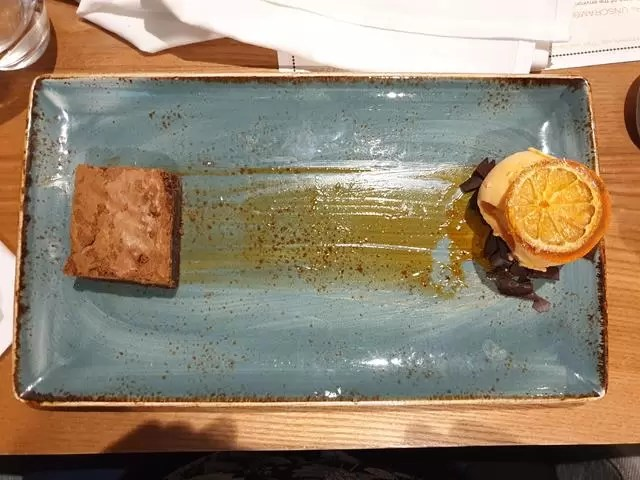 chocolate brownie and blood orange ice cream