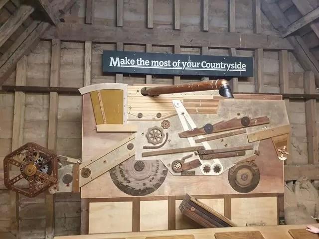interactive wooden combine harvester display