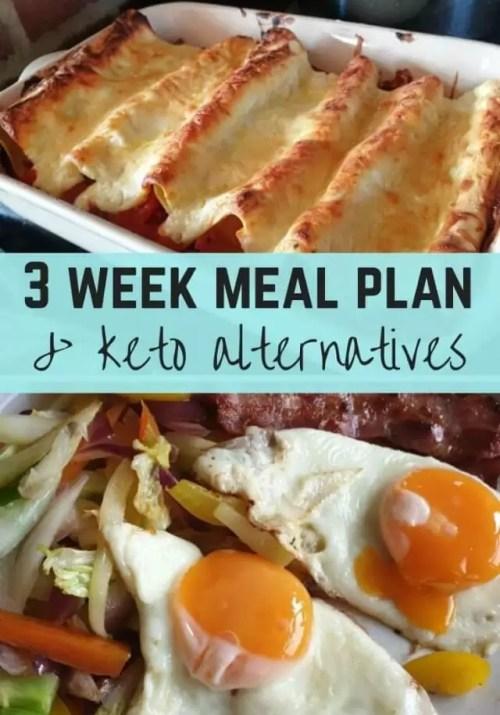 3 week meal plan & keto alternatives