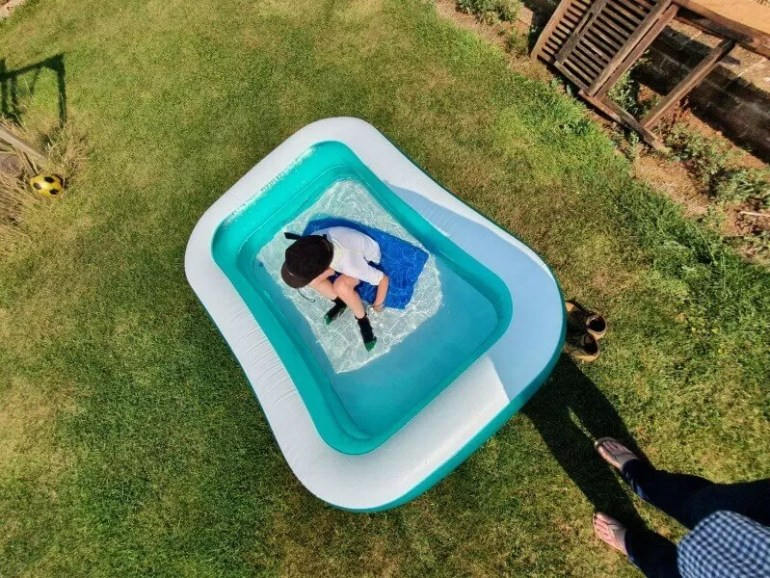 overhead paddling pool shot