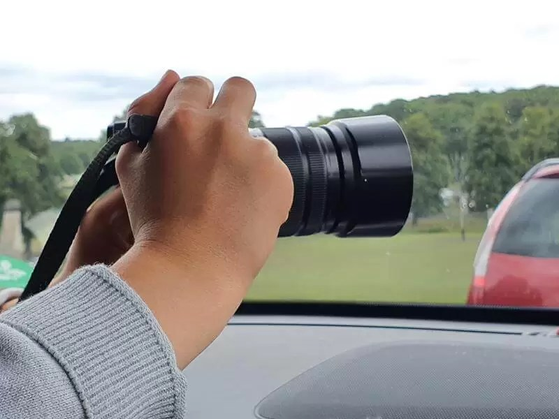 pointing the camera out of the window