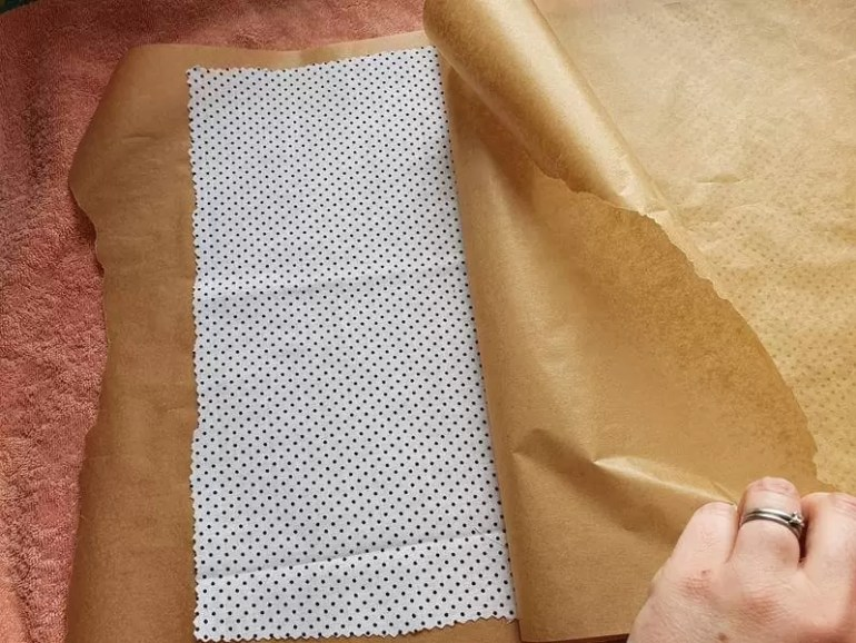 setting up new material in parchment paper