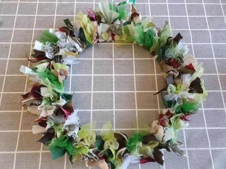completed greens and whites rag wreath