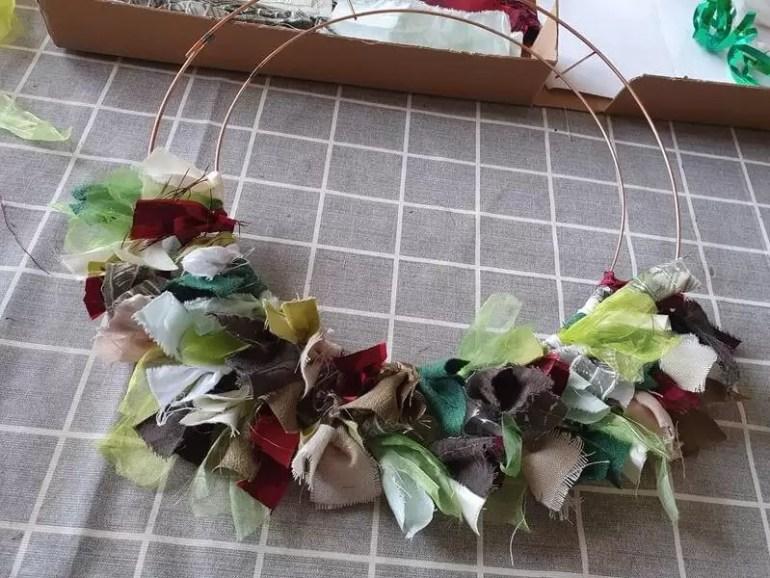 half completed rag wreath