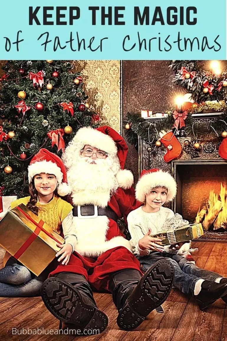 How to keep the magic of father christmas alive - image of Father Christmas with 2 children in santa hats in front of Christmas tree