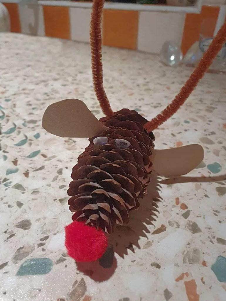festive fircone reindeer