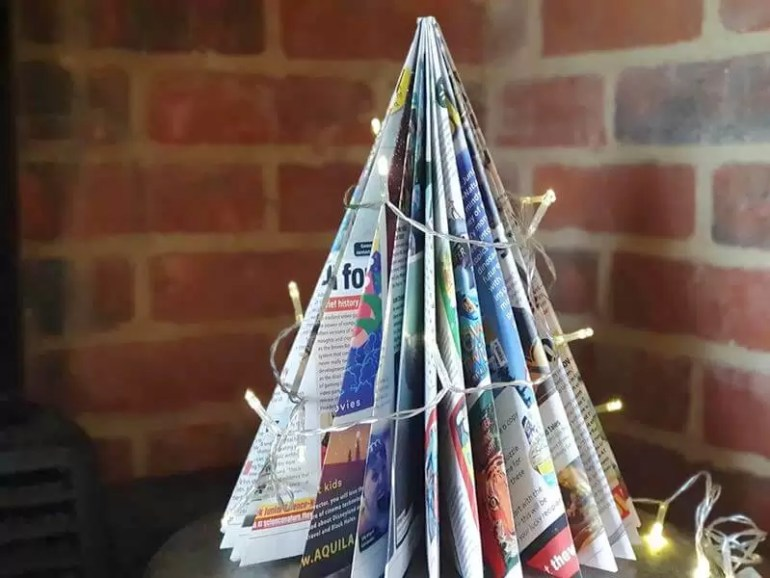 paper folded magazine tree