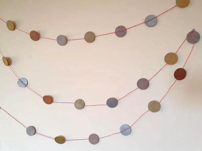wooden circle garland hung up on the wall