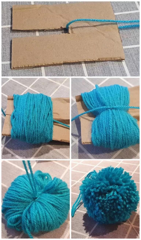 cardboard template pom pom method