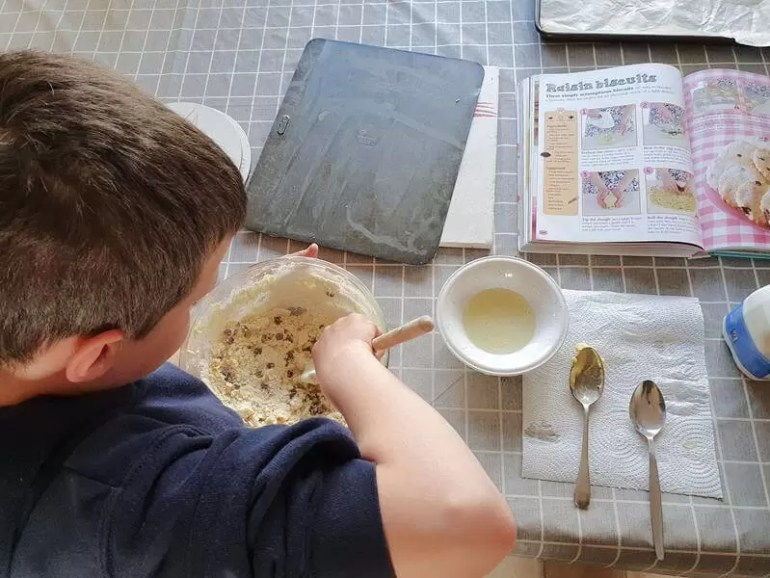 mixing cookie dough