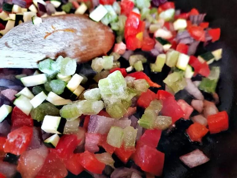 using frozen chopped veg in frying pan