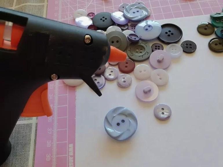 buttons and using a glue gun