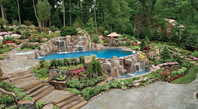 beautifully landscaped backyard