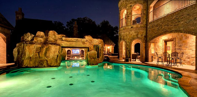 castle style backyard pool