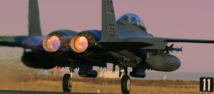f-15 on runway
