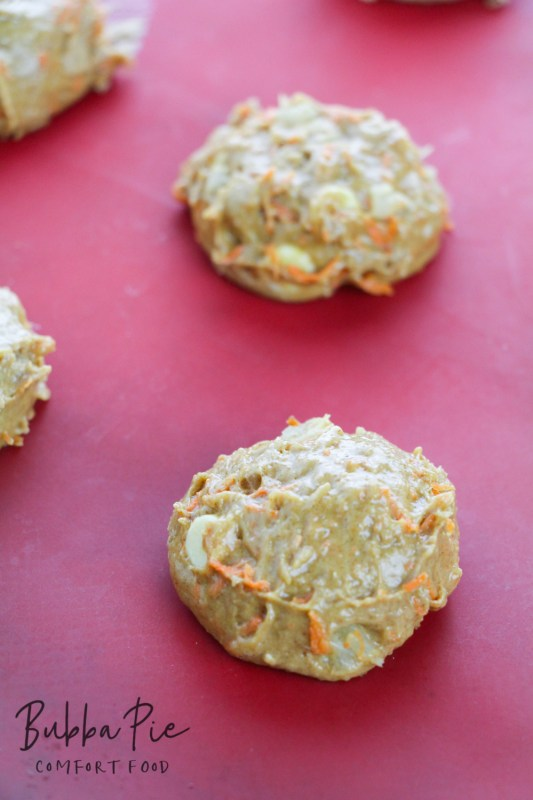 Carrot Cake Cookies on a baking sheet ready to go into the oven