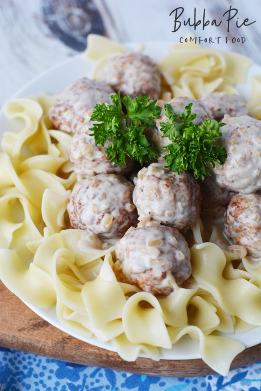 Swedish Meatball Recipe tastes great with noodles or mashed potatoes