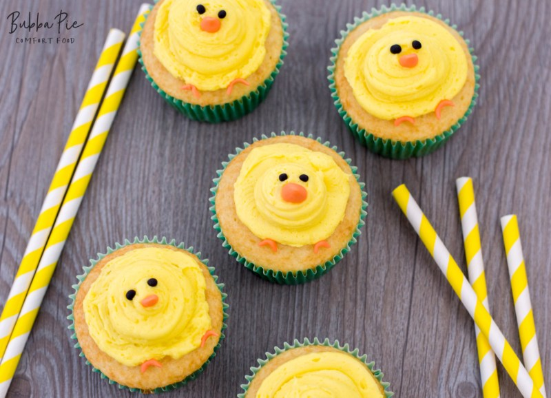 these baby chick cupcakes with homemade buttercream frosting are the perfect Easter dessert