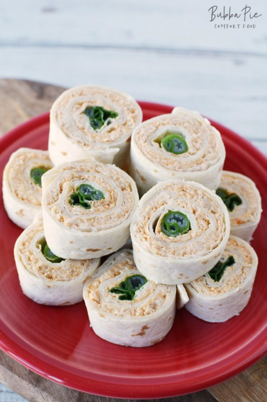 Buffalo Chicken Pinwheels Recipe is quick and easy. I love the green onion in the middle of the rollup