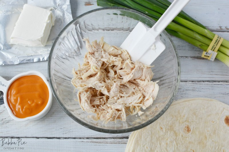 Buffalo Chicken Rollups has just a handful of ingredients including chicken breast, buffalo sauce and cream cheese